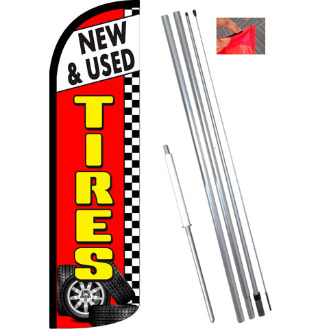 NEW & USED TIRES (Red/Checkered) Windless Feather Banner Flag Kit (Flag, Pole, & Ground Mt)
