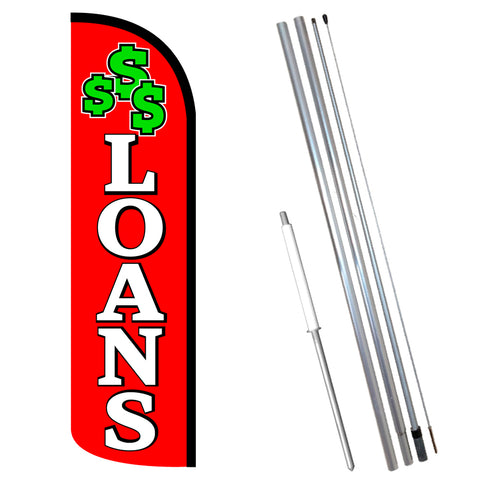 LOANS (Red/White) Windless-Style Feather Flag Bundle 14' OR Replacement Flag Only 11.5'