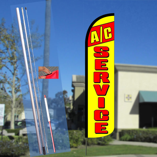 A/C SERVICE (Red/Yellow) Windless Feather Banner Flag Kit (Flag, Pole, & Ground Mt)