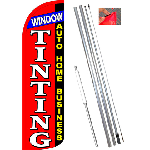 WINDOW TINTING Auto Home Business Windless Feather Banner Flag Kit (Flag, Pole, & Ground Mt)