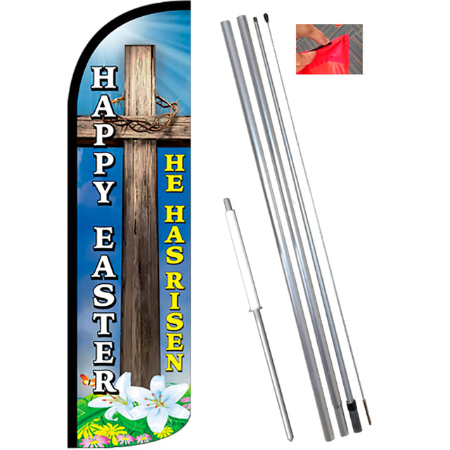 HAPPY EASTER (He Has Risen) Windless Feather Banner Flag Kit (Flag, Pole, & Ground Mt)