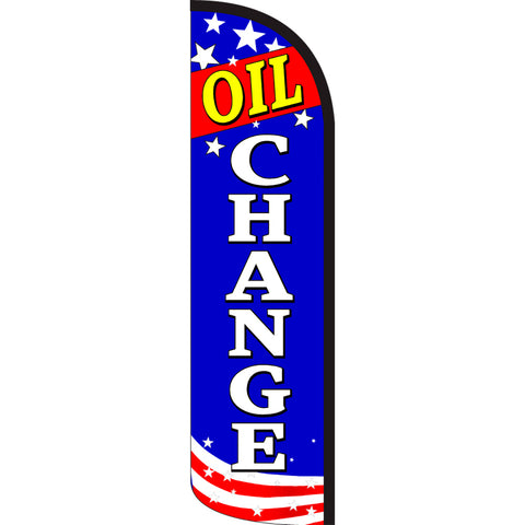 Oil Change (Patriotic) Windless Polyknit Feather Flag with Bundle Option (3 x 11.5 Feet)