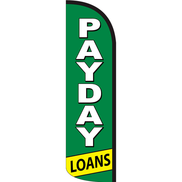 Payday Loans Windless Polyknit Feather Flag with Bundle Option (3 x 11.5 Feet)