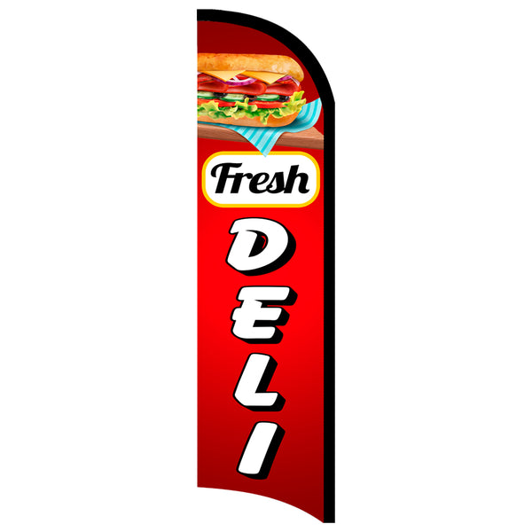Fresh Deli Premium Windless-Style Feather Flag Bundle 14' OR Replacement Flag Only 11.5'