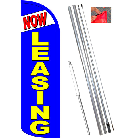 NOW LEASING (Blue) Windless Feather Banner Flag Kit (Flag, Pole, & Ground Mt)