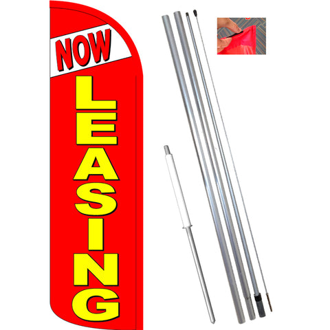 NOW LEASING (Red) Windless Feather Banner Flag Kit (Flag, Pole, & Ground Mt)