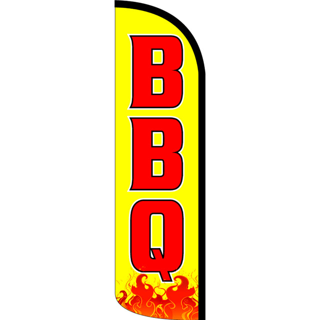BBQ Windless Polyknit Feather Flag with Bundle Option (11 X 3 Feet)