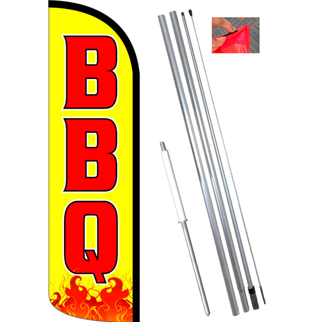 BBQ (Yellow) Windless Polyknit Feather Banner Flag Kit (Flag, Pole, & Ground Mt)