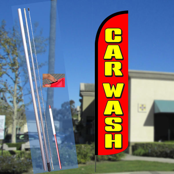 CAR WASH (Red/Yellow) Windless Feather Banner Flag Kit (Flag, Pole, & Ground Mt)