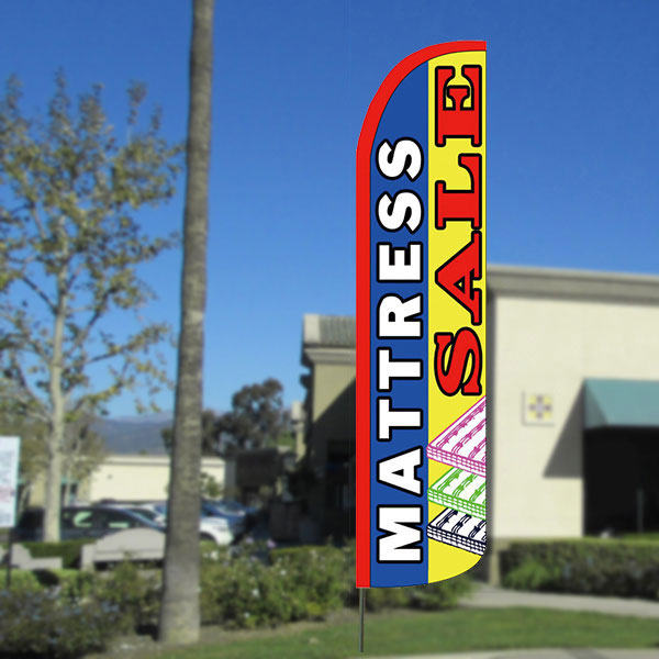 Mattress Sale (H) Windless Feather Banner Flag with Bundle Option (2.5 x 11.5 Feet)