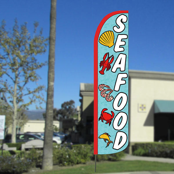Seafood Windless Feather Banner Flag with Bundle Option (2.5 x 11.5 Feet)