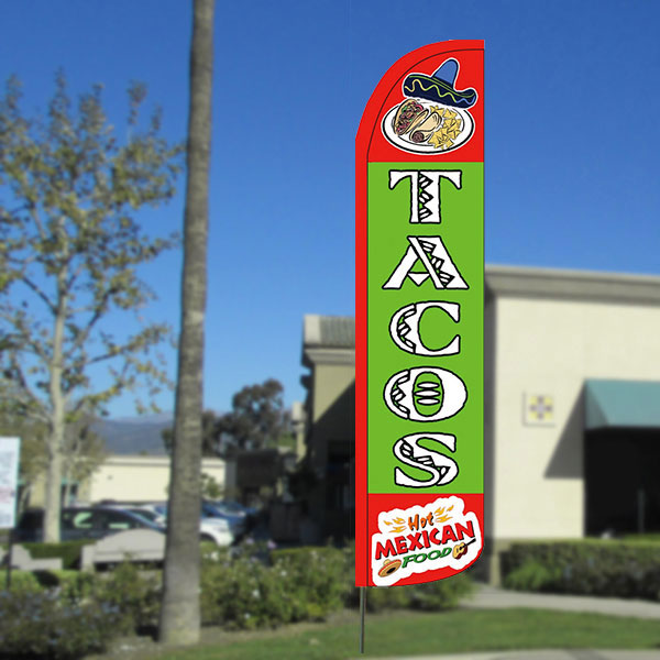 Tacos Windless Feather Banner Flag with Bundle Option (2.5 x 11.5 Feet)
