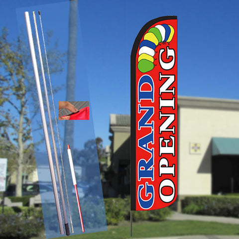 GRAND OPENING (Balloons) Windless Feather Banner Flag Kit (Flag, Pole, & Ground Mt)