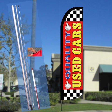 QUALITY USED CARS (Red H) Windless Feather Banner Flag Kit (Flag, Pole, & Ground Mt)