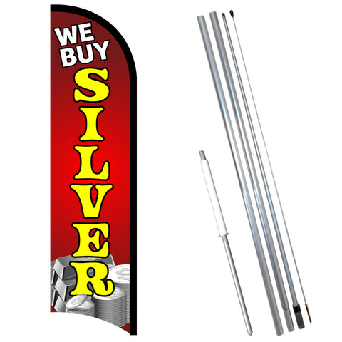 We Buy Silver Premium Windless-Style Feather Flag Bundle 14' OR Replacement Flag Only 11.5'