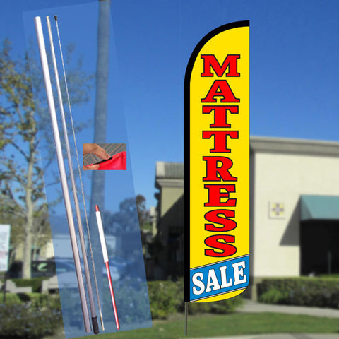 MATTRESS SALE (Yellow) Windless Feather Banner Flag Kit (Flag, Pole, & Ground Mt)