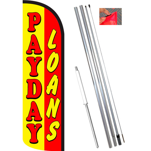 PAYDAY LOANS (Yellow/Red) Windless Feather Banner Flag Kit (Flag, Pole, & Ground Mt)