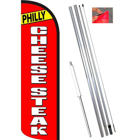 PHILLY CHEESESTEAK (Red/White) Windless Feather Banner Flag Kit (Flag, Pole, & Ground Mt)