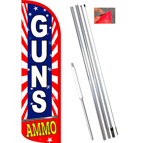 GUNS AMMO (Starburst) Windless Feather Banner Flag Kit (Flag, Pole, & Ground Mt)
