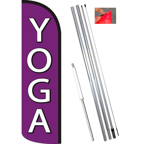 YOGA (Purple/White) Windless Feather Banner Flag Kit (Flag, Pole, & Ground Mt)