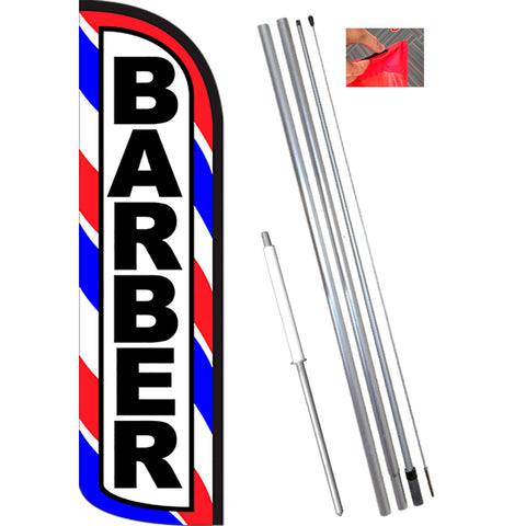 Barber (Red/White/Blue) Windless Feather Banner Flag Kit (Flag, Pole, & Ground Mt)