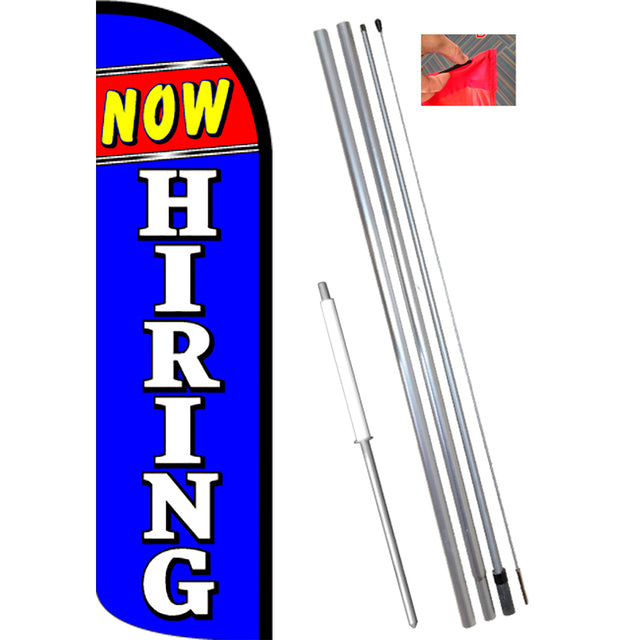 NOW HIRING (Blue/White) Windless Feather Banner Flag Kit (Flag, Pole, & Ground Mt)