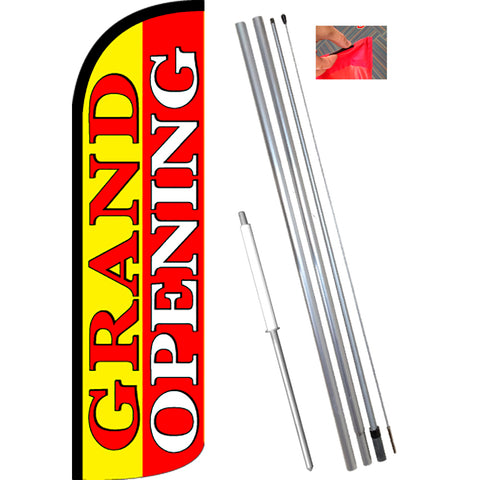 GRAND OPENING (Yellow/Red) Windless Feather Banner Flag Kit (Flag, Pole, & Ground Mt)