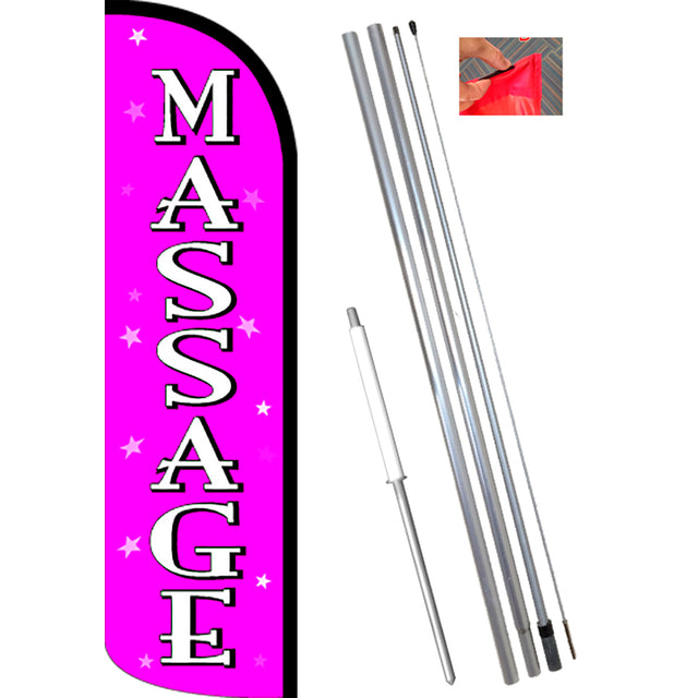 Massage (Pink/White) Windless Feather Banner Flag Kit (Flag, Pole, & Ground Mt)