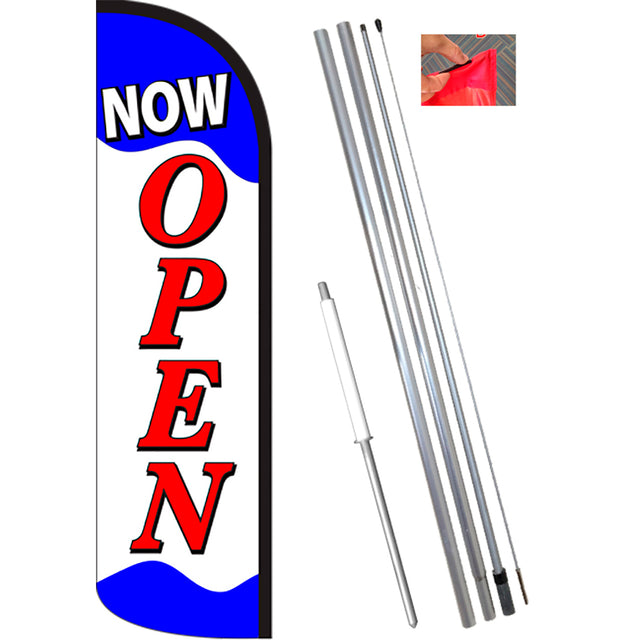 NOW OPEN (Blue/Red/White) Windless Feather Banner Flag Kit (Flag, Pole, & Ground Mt)