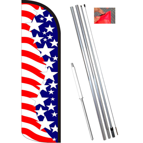 Star Spangled Windless Feather Banner Flag Kit (Flag, Pole, & Ground Mt)