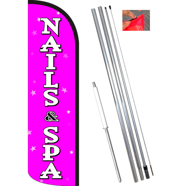 NAILS & SPA (Pink/White) Windless Banner Flag Kit (Flag, Pole, & Ground Mt)