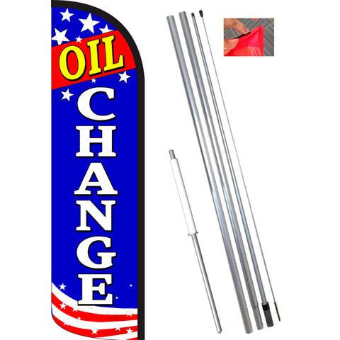 OIL CHANGE (Patriotic) Windless Feather Banner Flag Kit (Flag, Pole, & Ground Mt)