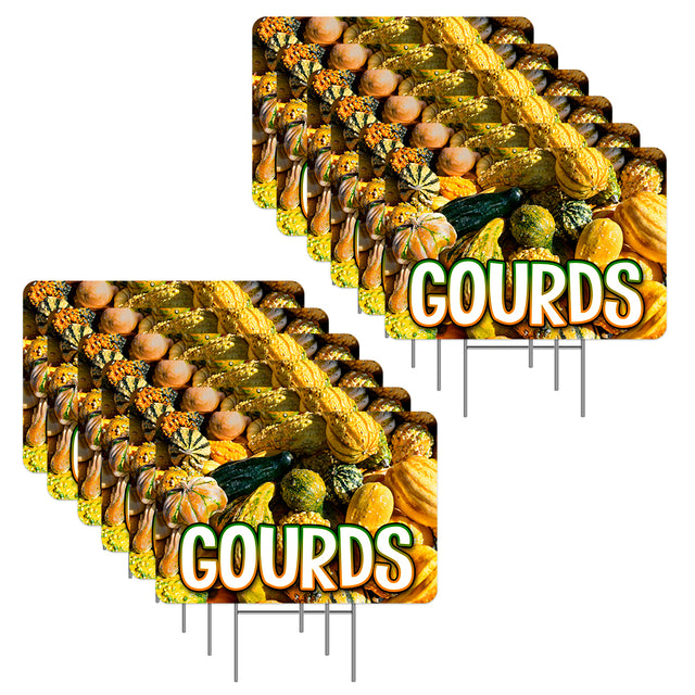 "Gourds 12 Pack Yard Sign - Each is 24"" x 16"" (with Metal Stake) One Side Print - Made in the USA"