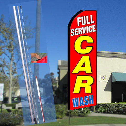 FULL SERVICE CAR WASH (Red) Flutter Feather Banner Flag Kit (Flag, Pole, & Ground Mt)