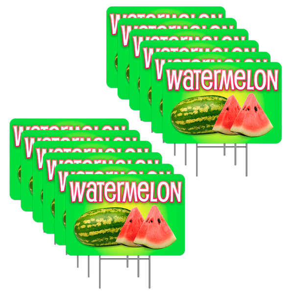 "Watermelon 12 Pack Yard Sign - Each is 24"" x 16"" (with Metal Stake) One Side Print - Made in the USA"