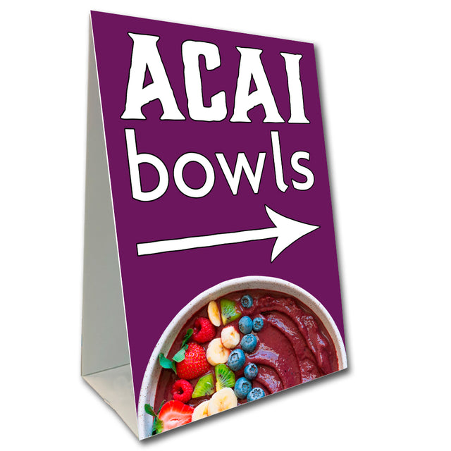 "ACAI Bowls Economy A-Frame Sign 24"" wide by 36"" tall (Made in the USA)"