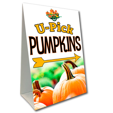 "U-Pick Pumpkins Economy A-Frame Sign 24"" wide by 36"" tall (Made in the USA)"