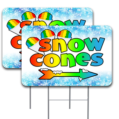 "Snow Cones (Arrow) 2 Pack Double-Sided Yard Signs 16"" x 24"" with Metal Stakes (Made in the USA)"