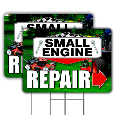 Small Engine Repair 2 Pack 16x24 Inch Sign (Made in the USA)