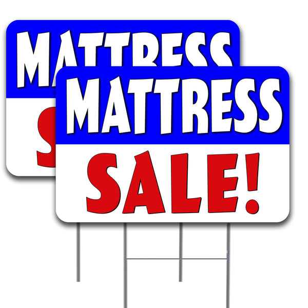 "MATTRESS SALE 2 Pack Double-Sided Yard Signs 16"" x 24"" with Metal Stakes (Made in the USA)"