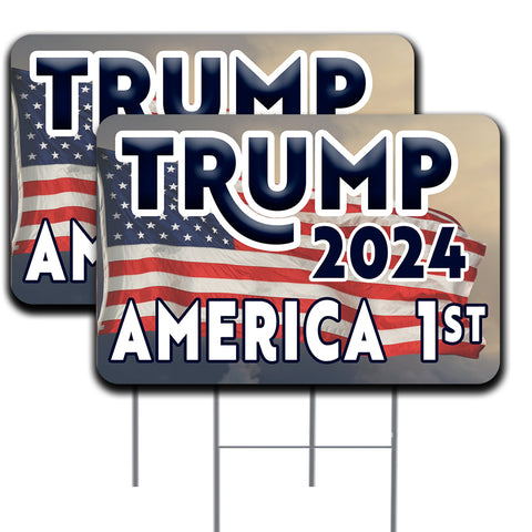 Trump 2024 America First 2 Pack 16x24 Inch Double-Sided Yard Sign with Metal Stakes (Made in the USA)