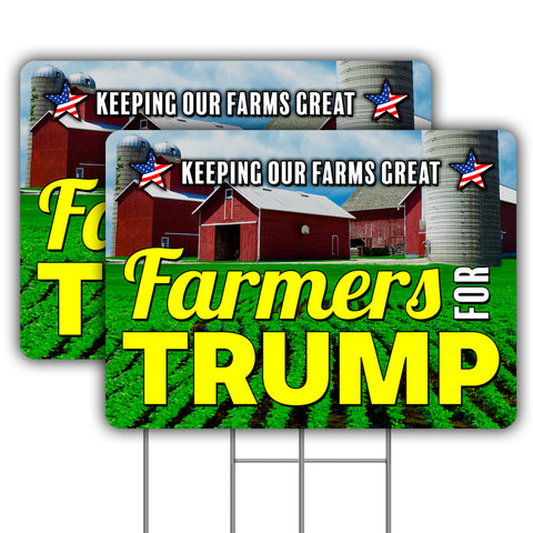 "Farmers For TRUMP (Two - 24"" x 18"" Yard Signs with Metal Stakes)"
