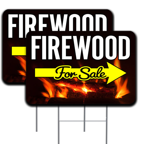 "Firewood For Sale (Arrow) 2 Pack Double-Sided Yard Signs 16"" x 24"" with Metal Stakes (Made in the USA)"