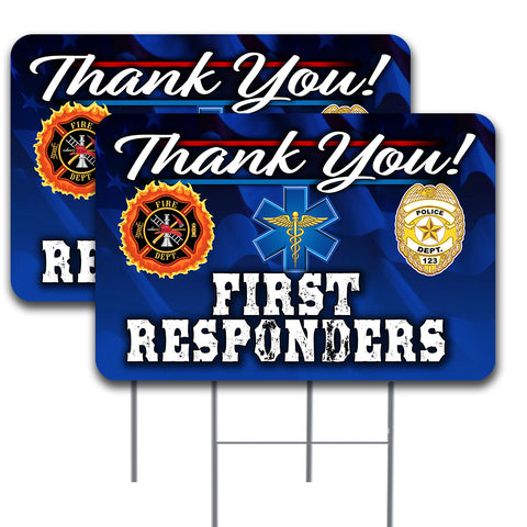 "Thank You First Responders 2 Pack Yard Sign - 16"" x 24"" Double-Sided Print with Metal Stakes (Made in the USA)"