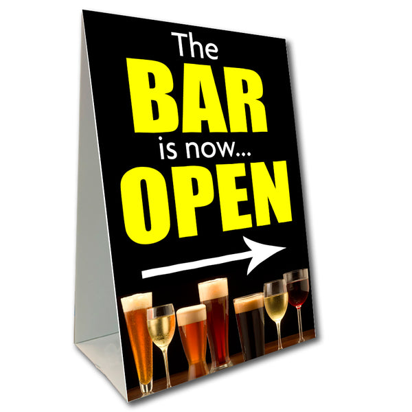 "Bar Now Open Economy A-Frame Sign 24"" wide by 36"" tall (Made in the USA)"