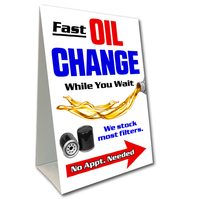 "Oil Change Economy A-Frame Sign 24"" wide by 36"" tall (Made in the USA)"