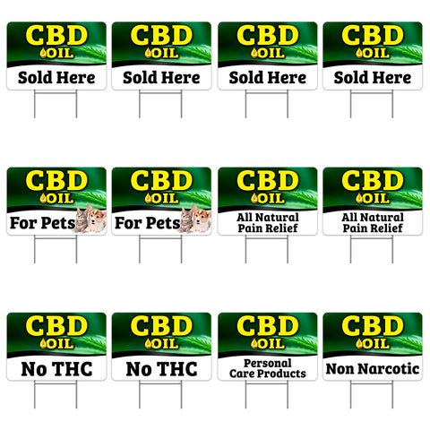 "CBD 12 Pack Yard Sign - Each is 24"" x 16"" (with Metal Stake) One Side Print - Made in the USA"