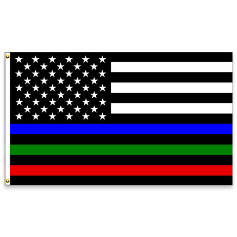 Thin Blue Green Red Line Premium (Made in the USA) 3x5 Flag