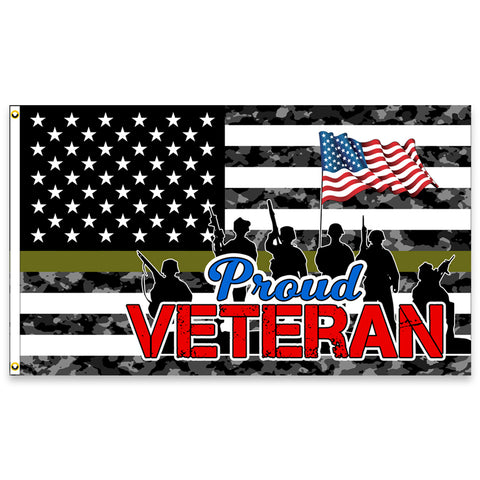 Proud Veteran Premium (Made in the USA) 3x5 Flag