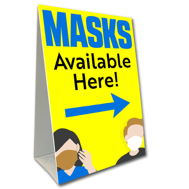 "Masks Available Here Economy A-Frame Sign 24"" wide by 36"" tall (Made in the USA)"
